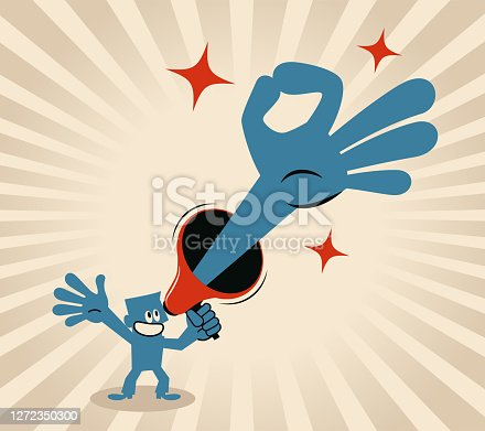 Blue Little Guy Characters Vector Art Illustration. Smiling businessman is holding a megaphone with an OK hand sign gesture.