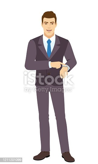 Smiling Businessman pointing at his watch. Full length portrait of Businessman in a flat style. Vector illustration.