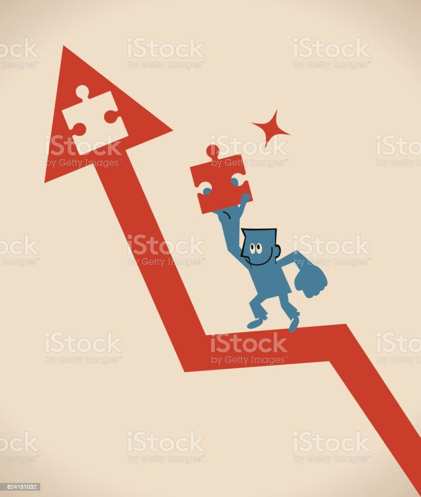 Smiling businessman (man) running on uprising red arrow, carrying an important jigsaw piece