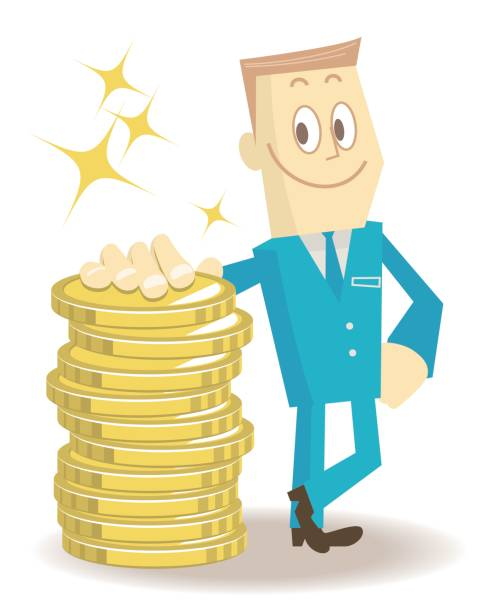 Smiling businessman standing leaning on a stack of gold coins (money) vector art illustration