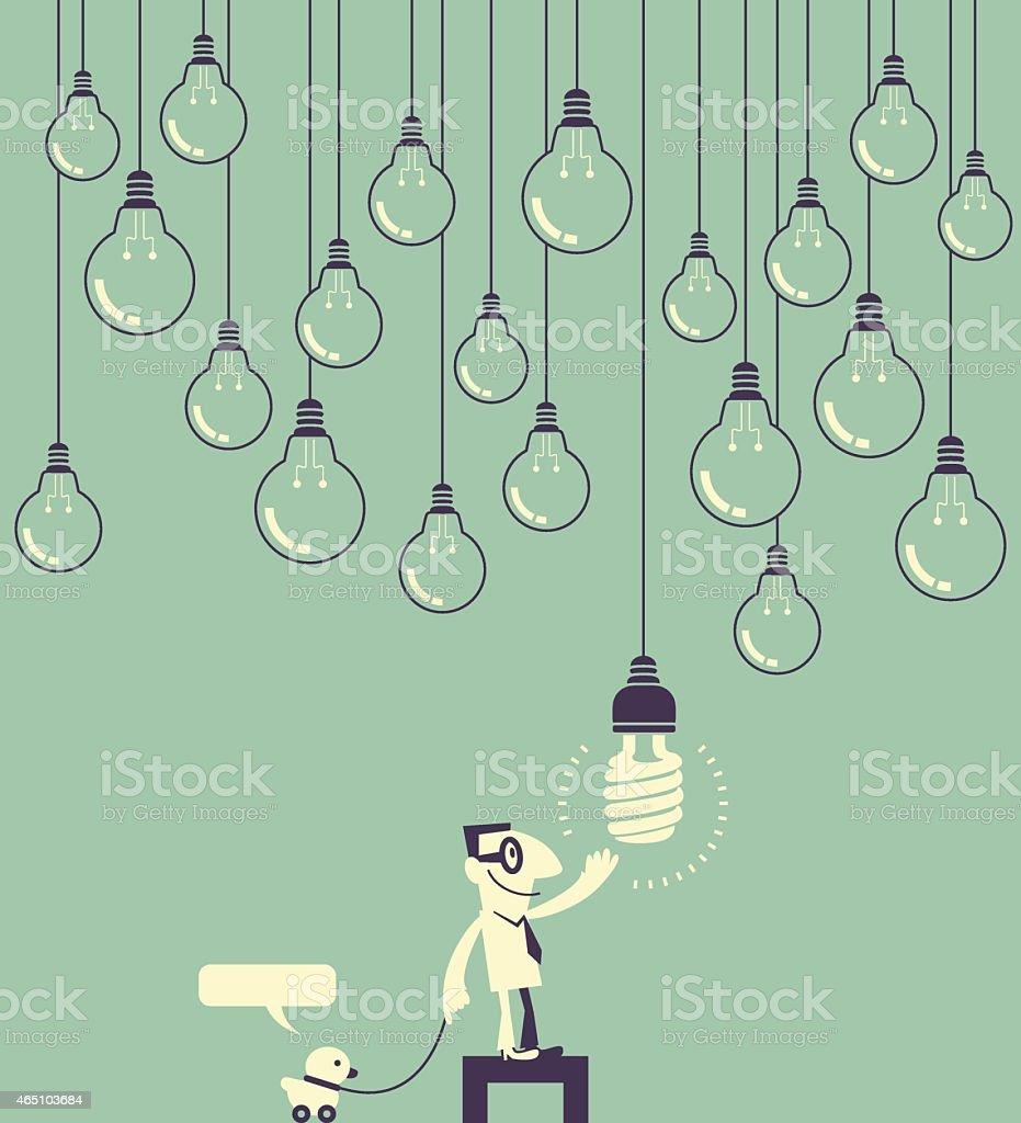 Smiling businessman(designer) touching hanging light bulbs vector art illustration