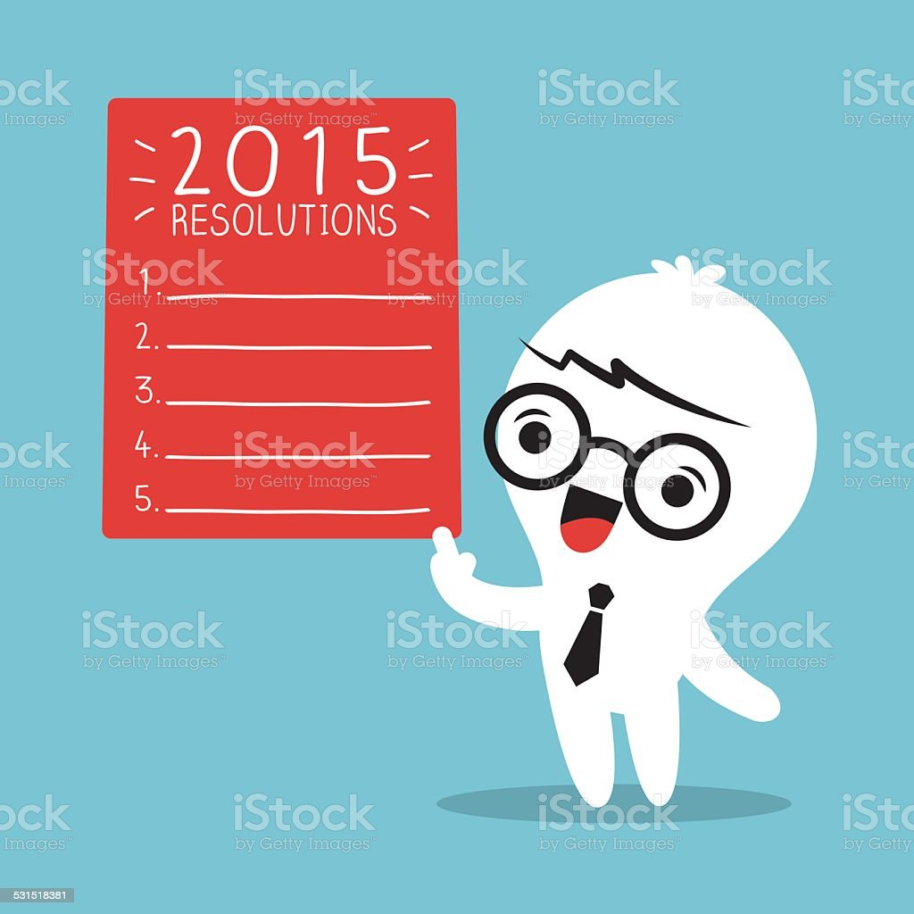Smiling businessman with 2015 new year resolutions list vector art illustration