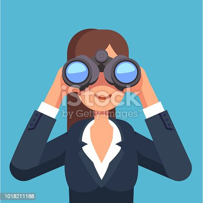 Business woman looking through binoculars searching for a job. Flat style isolated vector illustration on background.