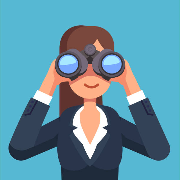 Smiling businesswoman searching for a job looking through binoculars. Flat vector clipart illustration. Business woman looking through binoculars searching for a job. Flat style isolated vector illustration on background. exploration stock illustrations