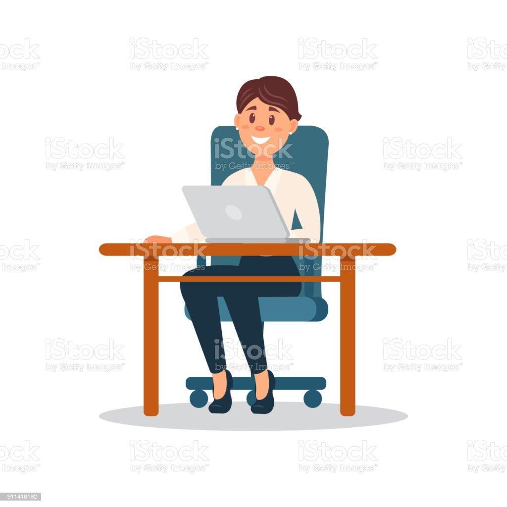 Lachelnd Geschaftsfrau Am Schreibtisch Mit Laptopcomputer Businesscharakter Im Buro Cartoon Vector Illustration Stock Vektor Art Und Mehr Bilder Von Arbeiten Istock