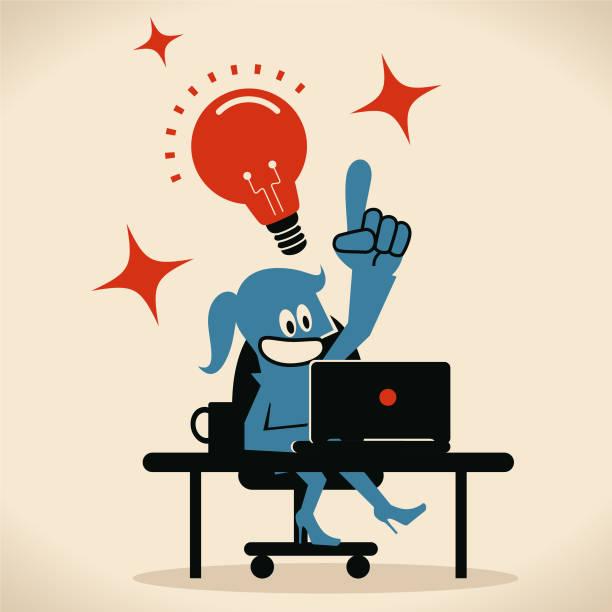 Smiling businesswoman (computer programmer, designer) using laptop at desk with an idea light bulb vector art illustration