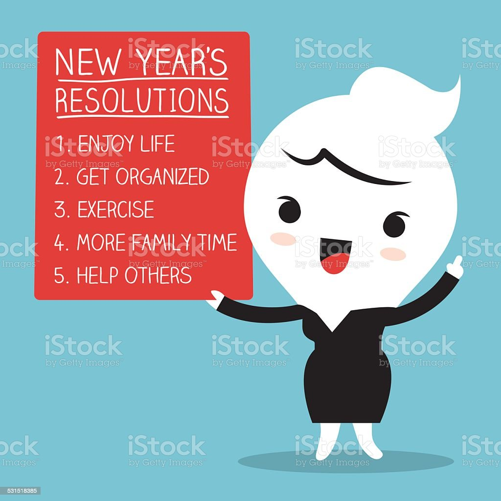 Smiling businesswoman with new year resolutions list vector art illustration