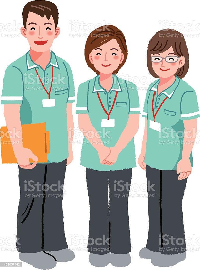 Sonriente personal para el cuidador - ilustración de arte vectorial