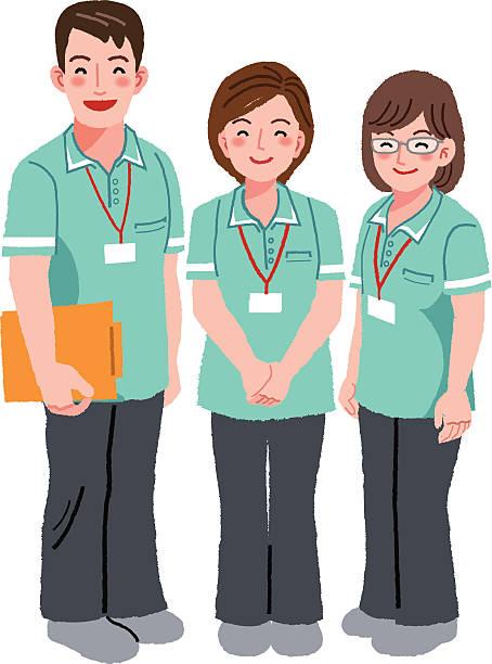 ilustraciones, imágenes clip art, dibujos animados e iconos de stock de sonriente personal para el cuidador - geriatría