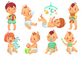 Smiling cartoon baby. Happy cute little kids playing with toys, small infant with pacifier and newborn children. Toddler, newborn adorable sitting and play babies isolated vector icons set