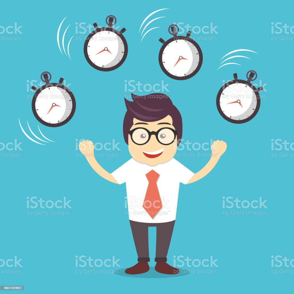 Smiling Cartoon Businessman Juggling With Alarm Clocks Symbolizing Time Management Flat Vector Illustration Stock Illustration Download Image Now Istock