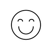 Smiling Cartoon Face Closed Eyes Positive People Emotion Icon Vector Illustration