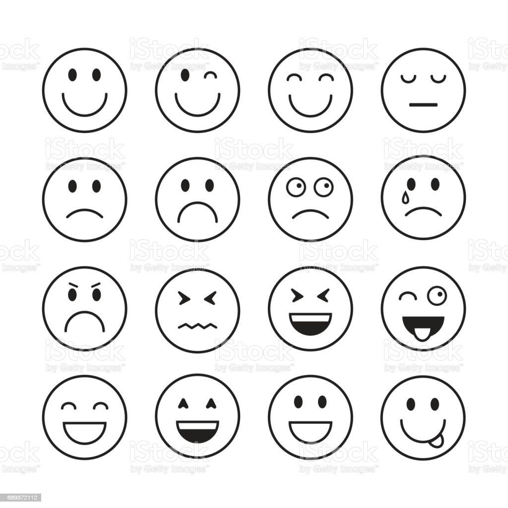 Exceptionnel Dessin Animé Souriant Visage Personnes émotion Icon Set Stock  OO59