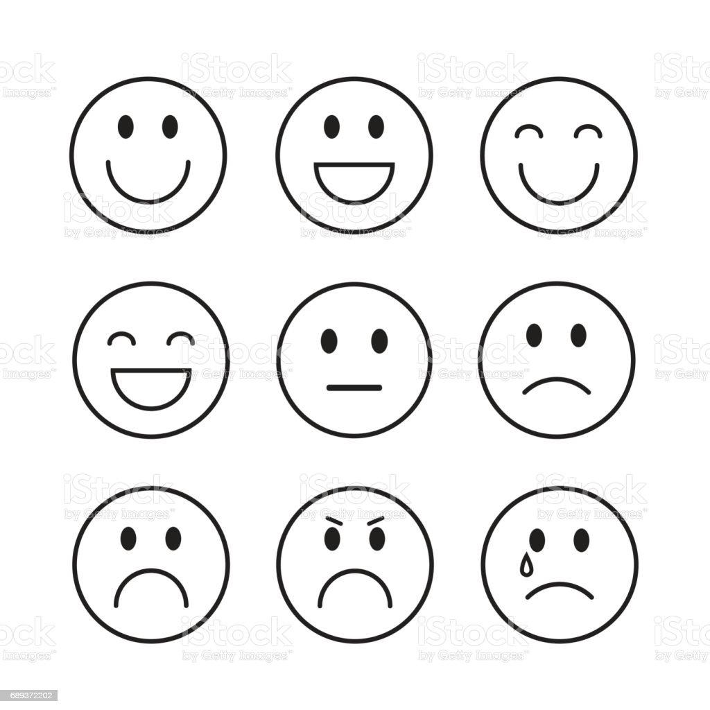 Bien-aimé Dessin Animé Souriant Visage Personnes émotion Icon Set Stock  GS97