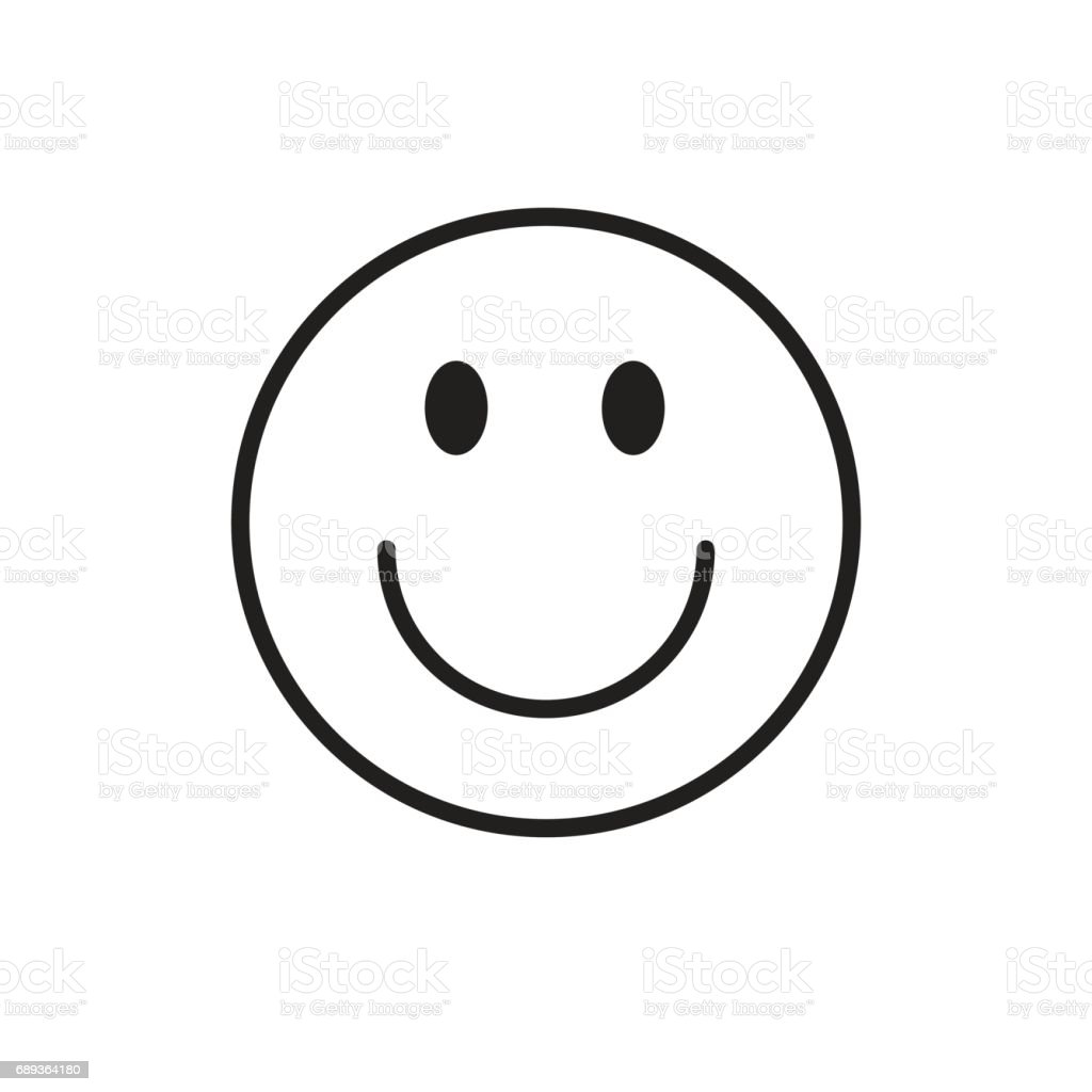 Smiling Cartoon Face Positive People Emotion Icon vector art illustration