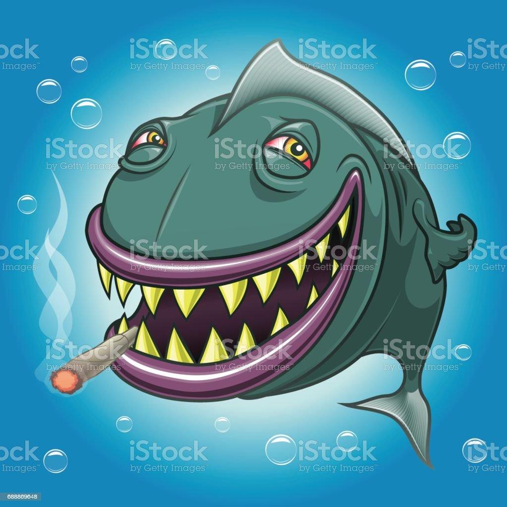 Smiling cartoon fish smoking marijuana