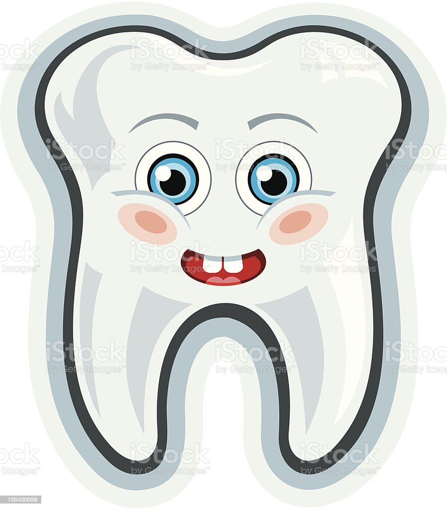 Smiling cartoon tooth royalty-free stock vector art