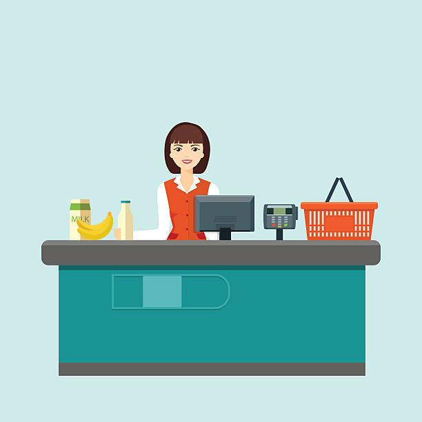 Smiling cashier sits behind the cash register. Flat vector illustration – Vektorgrafik