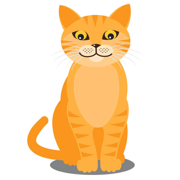 smiling cat. vector - cat stock illustrations, clip art, cartoons, & icons