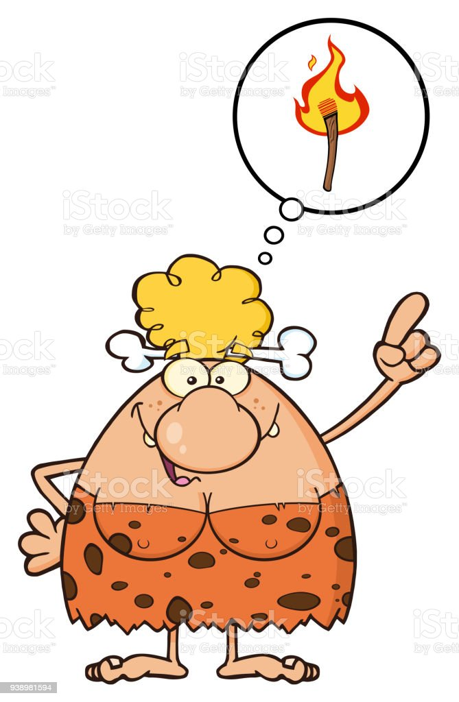 smiling cave woman cartoon mascot character with good idea arte