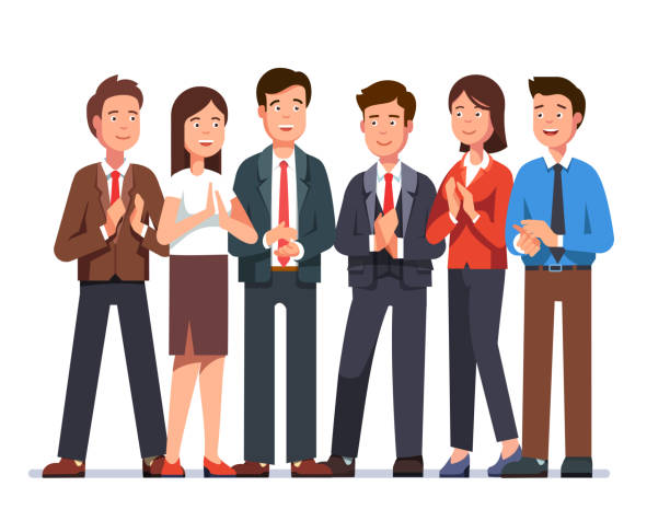 Smiling cheering businessmen and businesswoman clapping hands at viewer with approval. Flat vector clipart illustration. Group of cheerful business man and woman clapping hands at viewer. Smiling cheering business people team applauding with approval. Flat character vector illustration isolated on white background. flapping wings stock illustrations