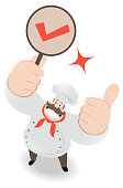 Unique Characters Full Length Vector art illustration. Smiling chef looking upward and gesturing thumbs up and holding OK sign (check mark, letter V).
