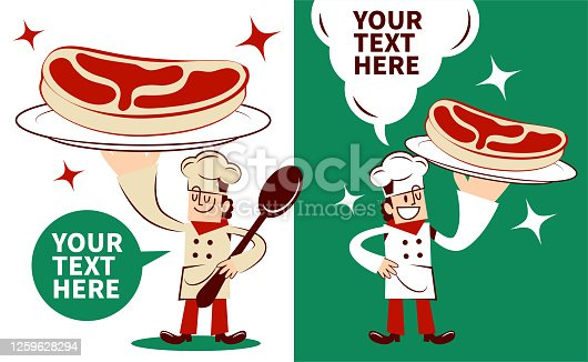 Smiling Chef serving a meat (or artificial meat) dish with two postures