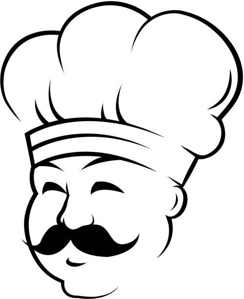ilustraciones, imágenes clip art, dibujos animados e iconos de stock de sonriente con un chef curling negro alrededor de los labios - busy restaurant kitchen