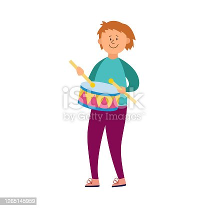 istock Smiling child boy or teenager playing drums, flat vector illustration isolated. 1265145959