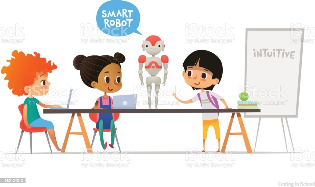 Smiling children sitting at laptops around smart robot standing on table in school classroom. Robotics and programming for kids concept. Vector illustration for website, advertisement, poster, banner. ベクターアートイラスト