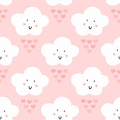 Smiling clouds and rain of hearts. Cute seamless pattern. Girly print. Vector illustration. Pink, white, black.
