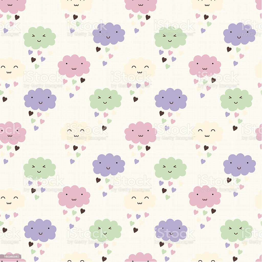 Smiling clouds seamless pattern royalty-free stock vector art