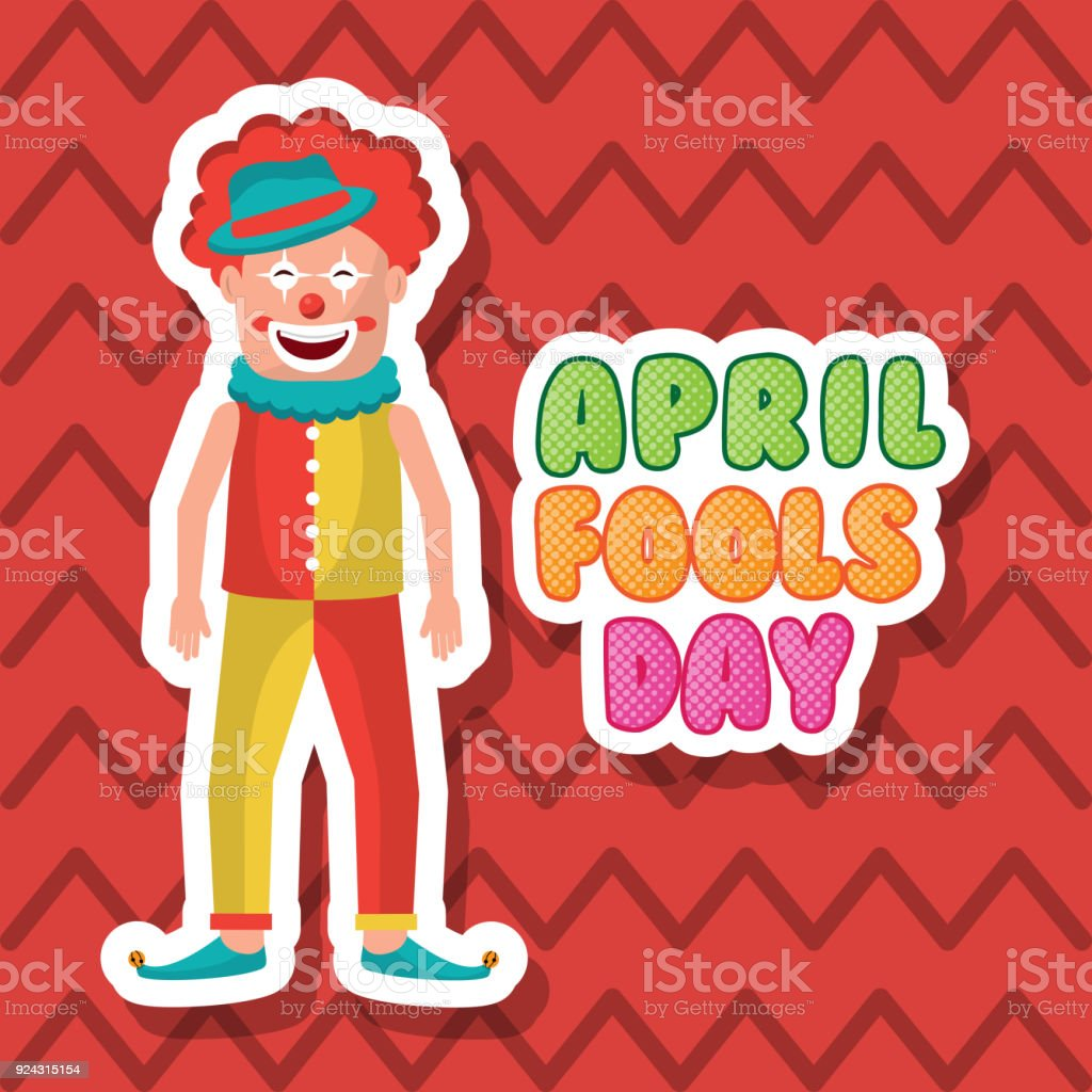 Smiling Clown April Fool Day Happy Greeting Card Stock Vector Art