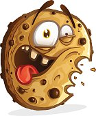 A cute smiling cookie cartoon.