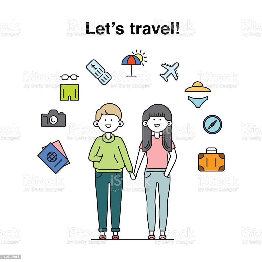 Smiling cool boy and girl characters travelling illustration vector art illustration