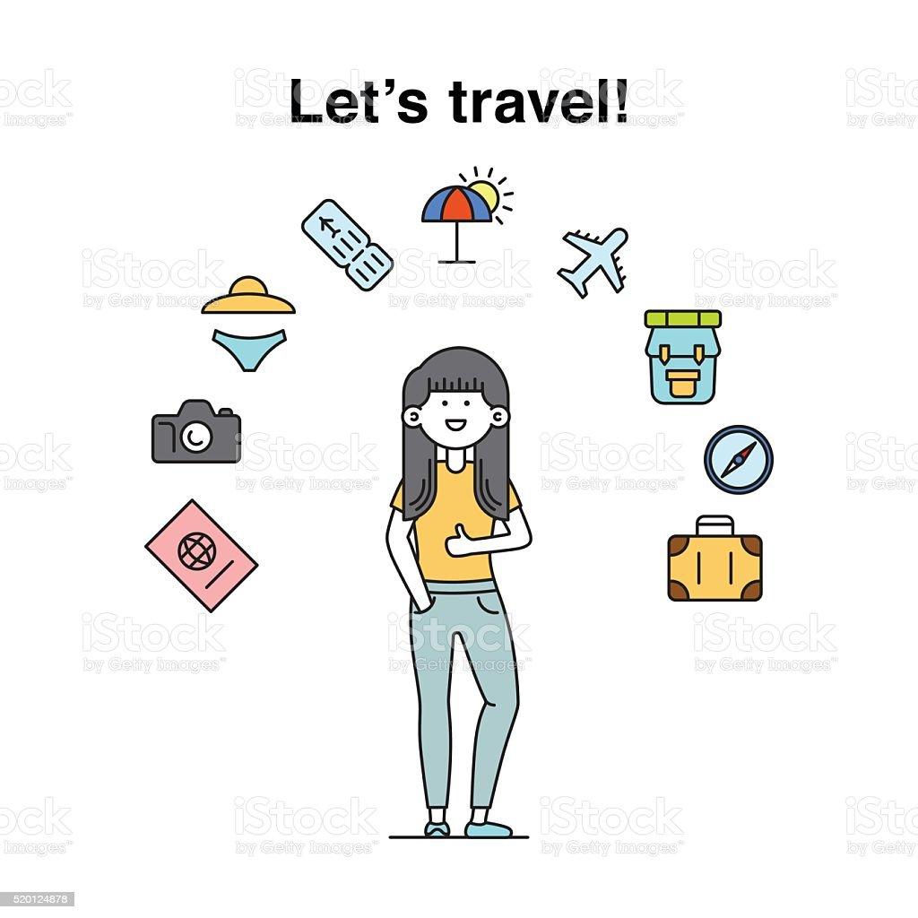Smiling cool girl character travelling  illustration vector art illustration