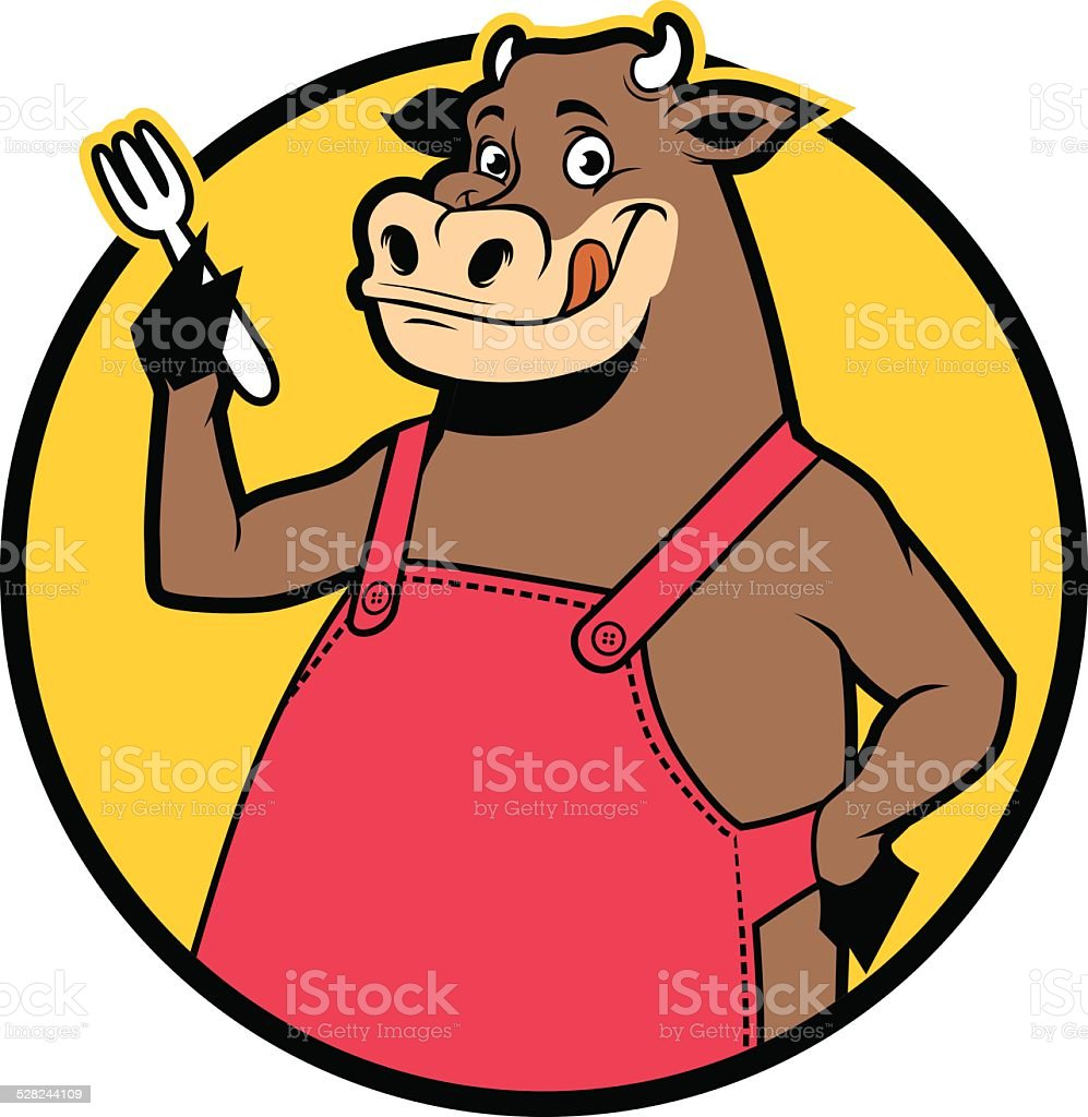 smiling cow wearing apron vector art illustration