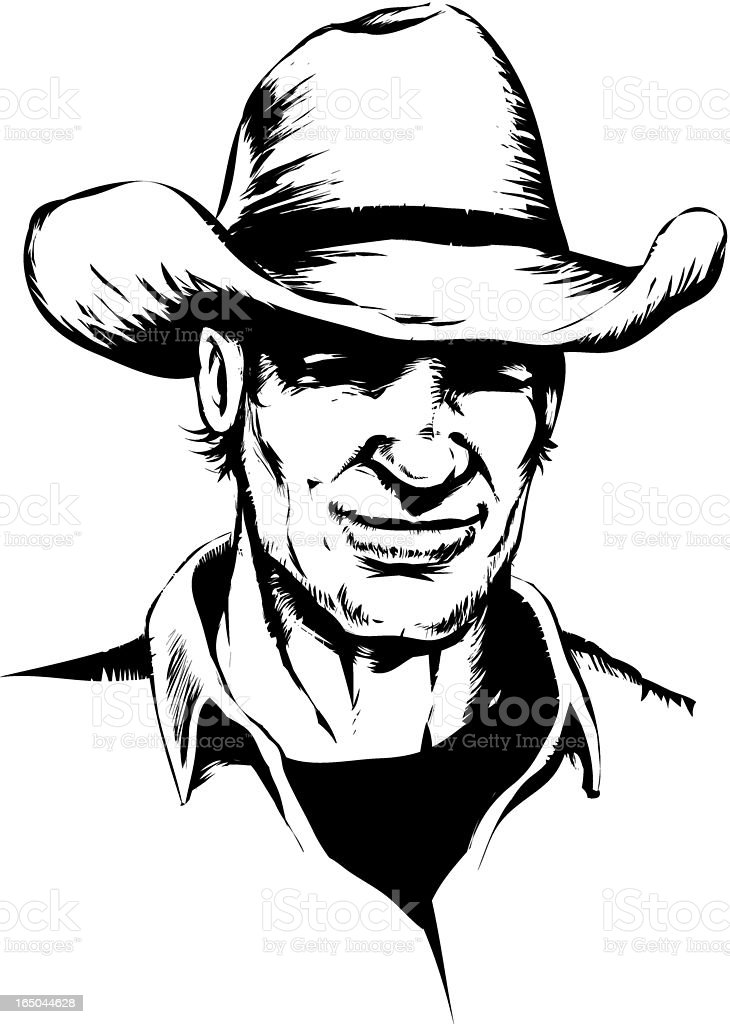 Smiling cowboy vector art illustration