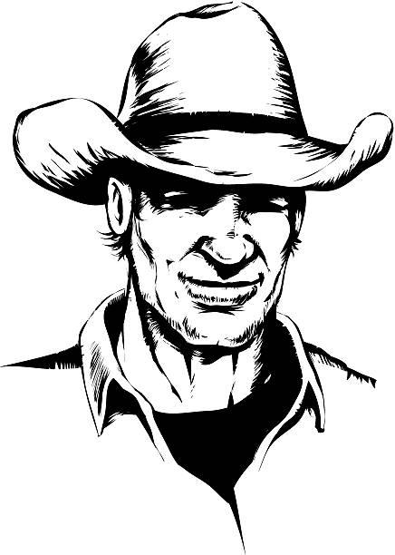 Smiling cowboy vector art illustration