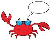 Smiling Crab Cartoon Mascot Character With Sunglasses Waving