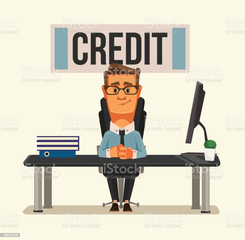 Smiling credit manager character sitting at bank office vector art illustration