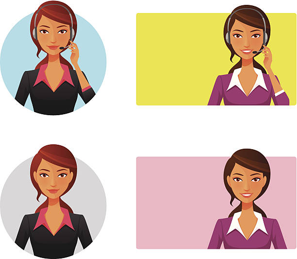 smiling customer support operator with headset - receptionist stock illustrations, clip art, cartoons, & icons