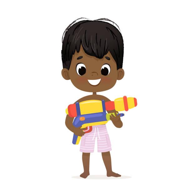 stockillustraties, clipart, cartoons en iconen met glimlachend schattig afro-amerikaanse baby jongen met een speelgoed water pistool poseren. pool party karakter met een toygun. strand donkere huid jongen karakter geïsoleerd. - festival logo baby