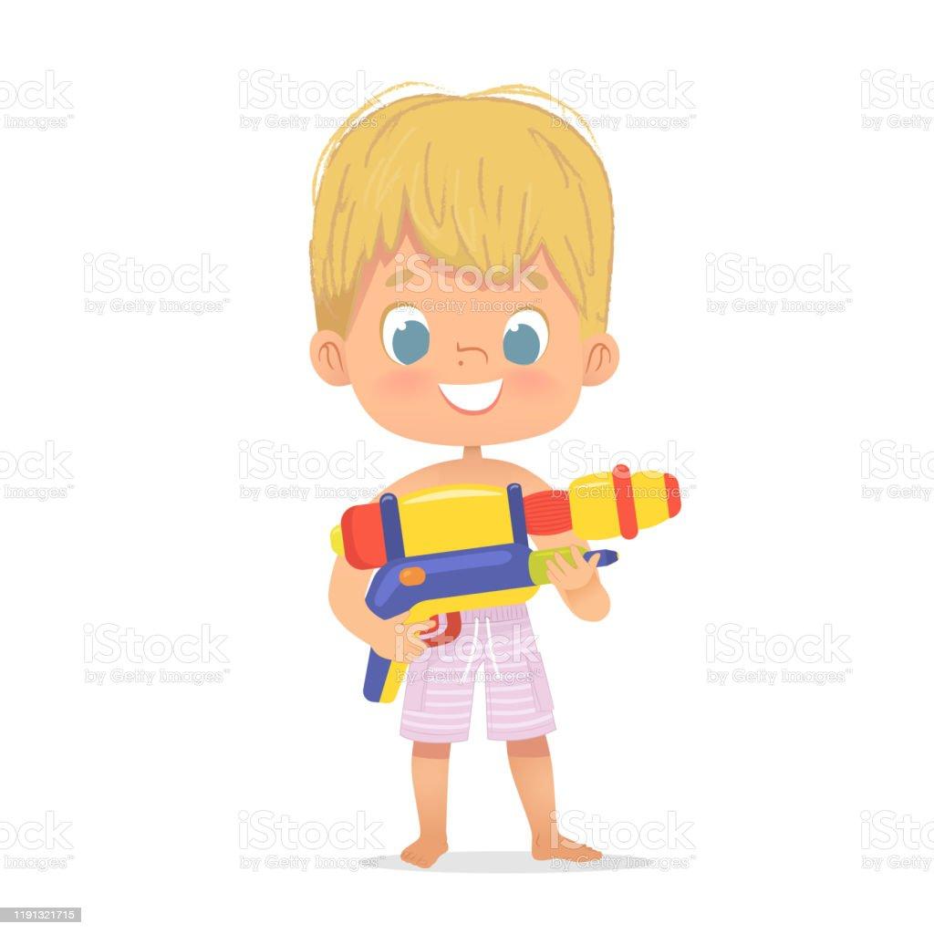 Glimlachend schattig blond jongetje met een speelgoed water pistool poseren. Pool Party karakter met een ToyGun. Strand jongen karakter geïsoleerd. - Royalty-free Baby vectorkunst