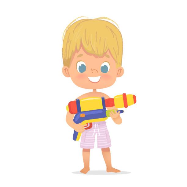 stockillustraties, clipart, cartoons en iconen met glimlachend schattig blond jongetje met een speelgoed water pistool poseren. pool party karakter met een toygun. strand jongen karakter geïsoleerd. - festival logo baby