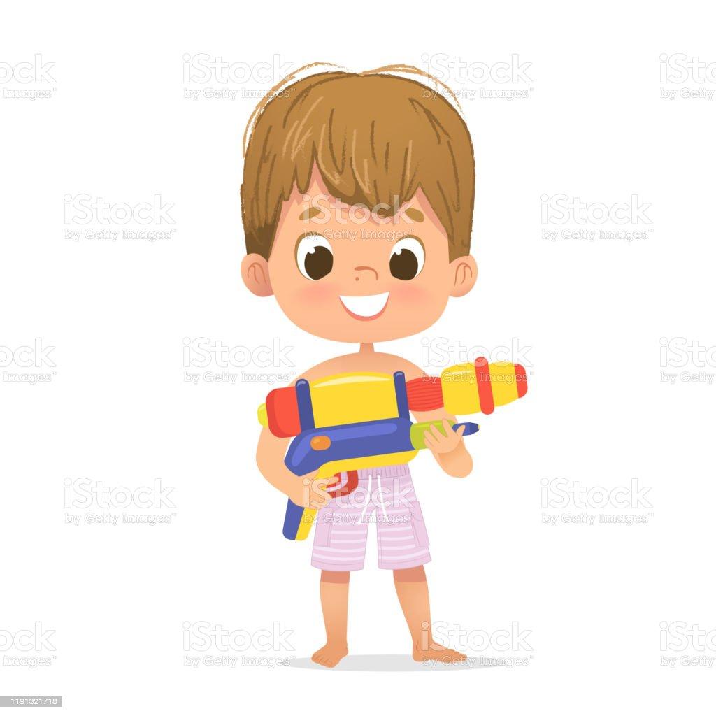Glimlachend schattig bruin haar baby jongen met een speelgoed water pistool poseren. Pool Party karakter met een ToyGun. Strand jongen karakter geïsoleerd. - Royalty-free Aziatische en Indiase etniciteit vectorkunst