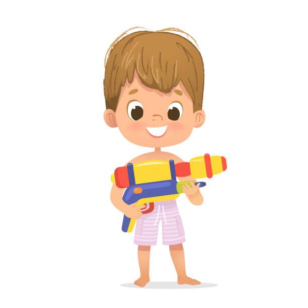 stockillustraties, clipart, cartoons en iconen met glimlachend schattig bruin haar baby jongen met een speelgoed water pistool poseren. pool party karakter met een toygun. strand jongen karakter geïsoleerd. - festival logo baby
