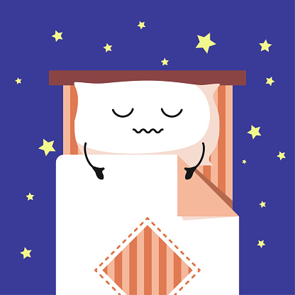 Smiling Cute Cartoon sleeping Pillow on stripped bed, Habituate kid card or poster.