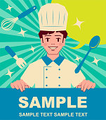Unique Characters Vector art illustration. Smiling cute chef or baker boy holding blank sign.