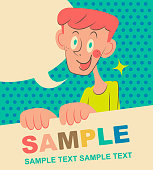 Unique characters vector art illustration. Smiling cute elementary age boy holding blank sign.